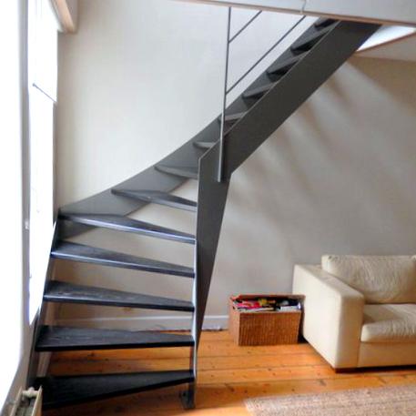 Moderne stalen trap met donker houten treden kwt26 - Moderne houten trap ...